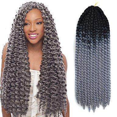 GANTA @ Schwarz ombre grau havana crochet twist zöpfe haare verlängerungen 22 kanekalon 2 strang 120g gram haare zöpfe , black/grey
