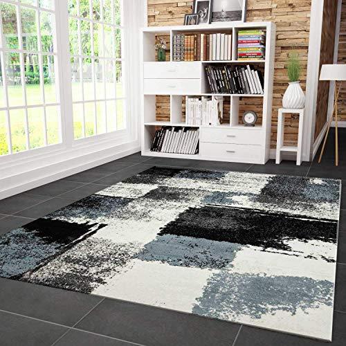 VIMODA Teppich Modern Designer Abstrakt Kariert Meliert Farbe Turkis Grau Schwarz 120x170 cm - Abstrakt-modern-teppich