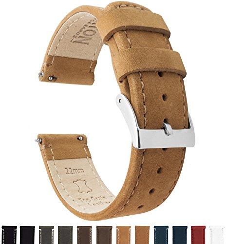 Barton Watch Bands Schnellverschluß. - Top Marke Leder Uhrenarmbänder - Wahl der Farbe und Breite (18mm, 20mm or 22mm) Braun Leder/Gingerbread Nahend 22mm