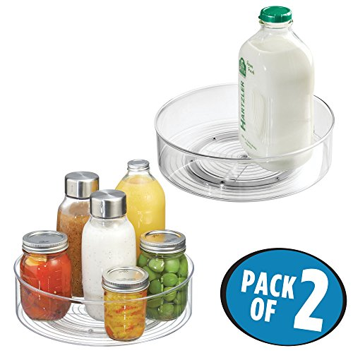 mDesign 2er-Set Lazy Susan Drehteller – praktischer Organizer für Kühlschrank, Speisekammer, Küchenschrank – durchsichtig (Speisekammer-organizer-körbe)