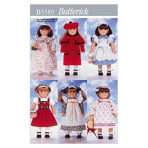 Butterick Patterns B5589 - Cartamodello per vestiti da bambola, 46 cm, biando