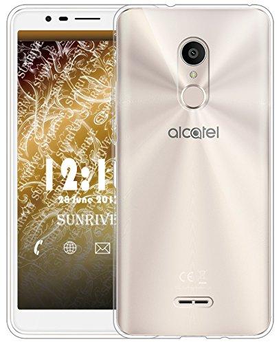 Sunrive Für Alcatel 3C Hülle Silikon, Transparent Handyhülle Schutzhülle Etui Case für Alcatel 3C(TPU Kein Bild)+Gratis Universal Eingabestift