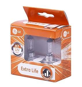 H7 Ampoule GE General Electric 12V 55W halogen Extra Life Ensemble de deux 58520DPU PX26d