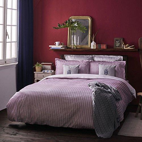 Satin Bettwäsche gestreift Bordeaux 1 Bettbezug 135x200 cm + 1 Kissenbezug 80x80 cm ()