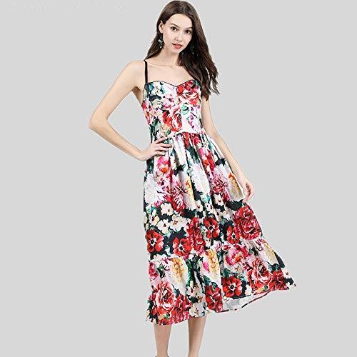 QUNLIANYI Ballkleid Lang Damen Tüll Ärmellose V-Ausschnitt Frauen Kleid Runway Strap High Waist Sweet Floral Print Midi Kleid Strand Eine Linie M -