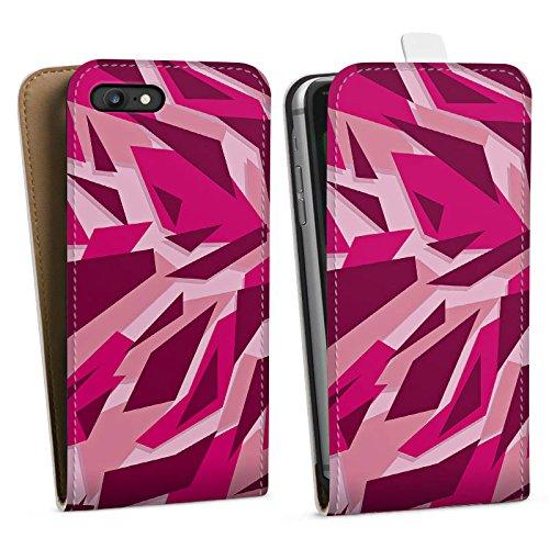 Apple iPhone SE Silikon Hülle Case Schutzhülle Pink Camouflage Muster Downflip Tasche weiß