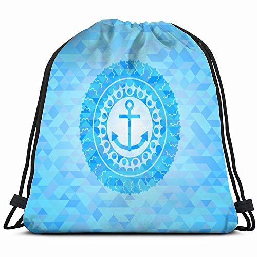 DD Decorative Anchor icon Inside Light Blue Emblem Drawstring Backpack Gym Sack Lightweight Bag Water Resistant Gym Backpack for Women&Men for Sports,Travelling,Hiking,Camping,Shopping Yoga (Ipad Flat Iron)