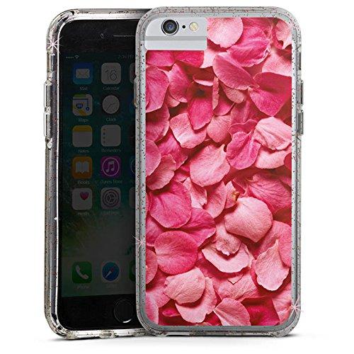 Apple iPhone 7 Bumper Hülle Bumper Case Glitzer Hülle Rosenblaetter Pink Hanami Bumper Case Glitzer rose gold
