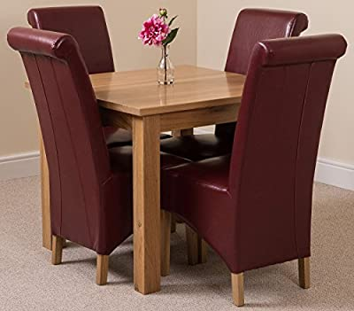Oslo Solid Oak Square (90 cm x 90 cm) Dining Table & 4 Brown Montana Leather Chairs