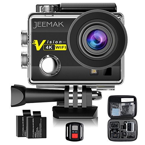 JEEMAK 4K Sports Action Camera 16MP WiFi Waterproof Cam with 2.4G Remote Control 170° Wide Angle 2.0'' LCD Screen 2 Rechargeable Batteries and Portable Package