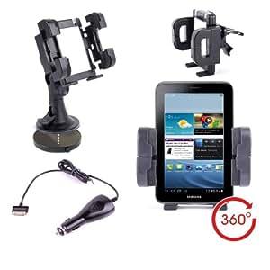 Support Voiture Multifonction 3 en 1 DURAGADGET pour Samsung Galaxy Tab (7.0) Wi-Fi P3110 et Samsung Galaxy Tab 2 (7.0) P3100 - Support grille d'aération, pare-brise et tableau de bord + chargeur allume-cigare BONUS - Garantie à vie