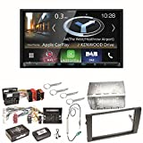 Kenwood DNX-8180DABS Navigation Naviceiver Bluetooth DAB+ Digitalradio Android Auto Smartphone CarPlay USB CD DVD Autoradio FLAC Doppel DIN Einbauset für Audi A4 B7 Seat Exeo