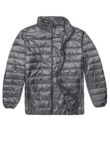 Pagacat Daunenjacke Herren Winter Warm Leichte Stehkragen Collar Full Zip Packable Down Puffer Jacke Winterjacke Übergangsjacke