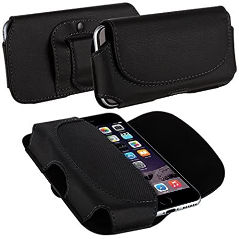 Tigerbox® Premium Horizontal Style Leather Belt Loop Holster Clip Pouch Case Cover With Magnetic Close For Sony Xperia Z1 Mobile Phone - Black