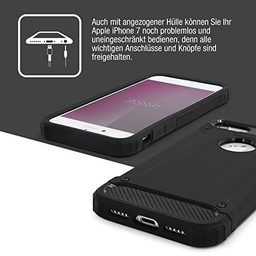 Urcover® Apple iPhone 7 Hülle Steel Series Hybrid | Kunststoff in Rot | Zuberhör Tasche Case Handy-Cover Schutz-Hülle Schale Schwarz