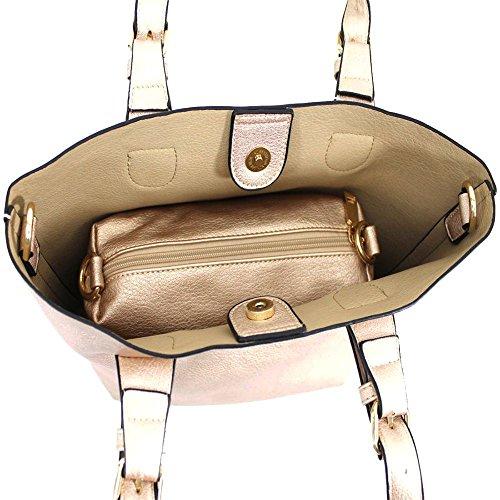 Haute für Diva S Neu Damen Kunstleder Top Henkel Riemen innen mit Reißverschluss Einkaufstasche Tragetasche - grau, Large Gold