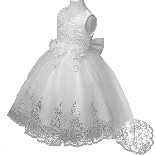 VEVESMUNDO™ Mädchen Kleider Hochzeit Prinzessin Spitzen Kleid Blumenmädchenkleid Festkleid Weiß A-Linie Kleid (Körpergröße 110-119cm, weiß in (Prinzessin Kostüme 11 Für Jährigen)