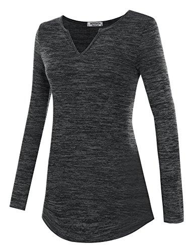 HOTOUCH Damen Pullover V-Ausschnitt Pulli Tunika Langarm Bluse Basics T-Shirt Shirt Typ1-Grau