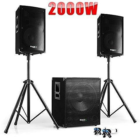 PACK Sono DJ CUBE 1512 + DISCO 12 + PIEDS + CÂBLES