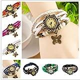 SSLA Damen-Armbanduhr, geflochtenes Leder, Schmetterlingsmotiv, 80 Stück