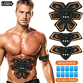 FYLINA Unisex's EMS Abdominal Stimulator, Abs Trainer Muscle Toning Belts Home Workout Fitness Device for Men & Women, Yellow, model-1