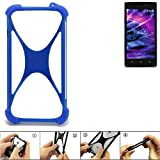 K-S-Trade Handyhülle für Medion Life E5005 Silikon Schutz Hülle Cover Case Bumper Silikoncase TPU Softcase Schutzhülle Smartphone Stoßschutz, blau (1x)