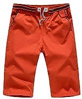 Fulok Men Splice Elastic Waist Slim Beach Drawstrings Board Shorts X-Large Red
