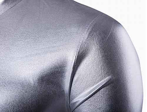 QIYUN.Z Männer V-Ausschnitt Kurzarm Sommer Nachtclub Metallic Shirts T-Stücke Silbrig