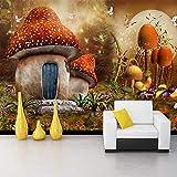 YUANLINGWEI Wandbild Tapete Benutzerdefinierte 3D Wandbild Tapete Cartoon Märchenwelt Pilz Haus Schmetterling Blumenmuster Hintergrund Kinderzimmer Tapete,210Cm (H) X 290Cm (W)