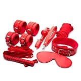 Kit 8 pezzi di colore rosso, un set bondage per i tuoi sexy giochi sadomaso, mascherina, frustino, collare ecc.. immagine
