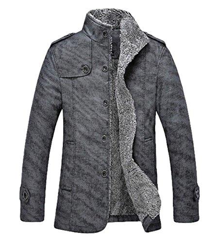 Men's fashion plus épais d'extérieur en velours chaud Manteau Veste en imitation cuir Gris - Gris