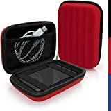 igadgitz Rouge EVA Étui Housse Rigide pour Toshiba Stor.E Aiv TV Kit, Canvio Ready, Canvio Plus, Canvio Basics, Canvio Aeromobile, Canvio Aerocast Disque Dur Externe Portable Case Cover