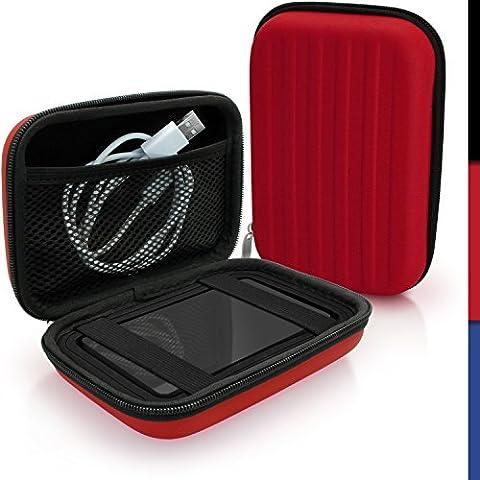 igadgitz Rouge EVA Étui Housse Rigide pour Western Digital My Passport Studio & Wireless Disque Dur Externe Portable Case Cover