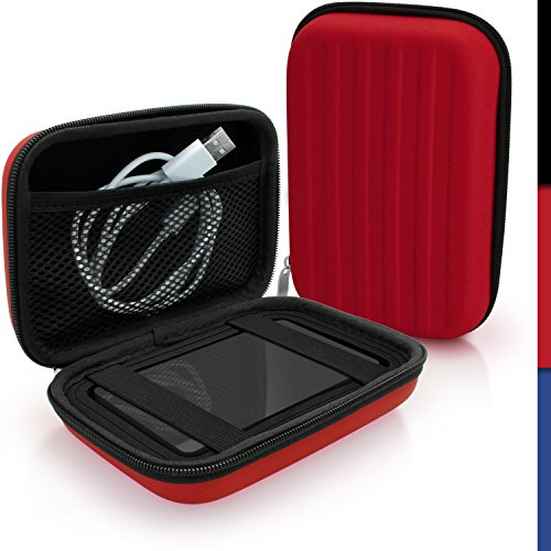 igadgitz Rosso EVA Borsa Custodia Rigida per Western Digital My Passport Studio & Wireless Portatile Hard-Disk Esterno Case Cover