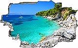 DesFoli Bucht Urlaub Meer Beach Strand 3D Look Wandtattoo 70 x 115 cm Wanddurchbruch Wandbild Sticker Aufkleber C265