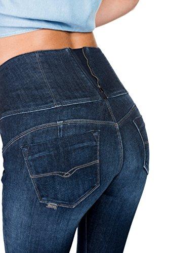 Salsa - Jeans amincissants Diva avec taille haute et delàvage foncé avec effet usé - Femme Bleu