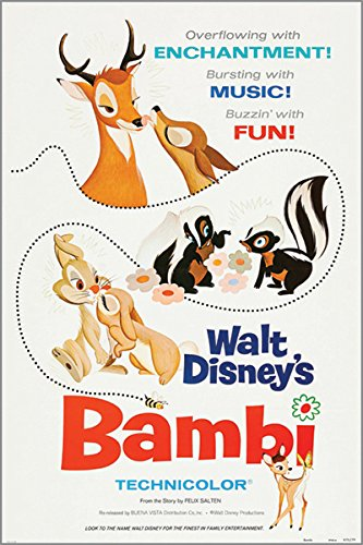 Walt Disney Bambi Póster de la película Vintage conejos Skunks Kid Friendly 24 x 36