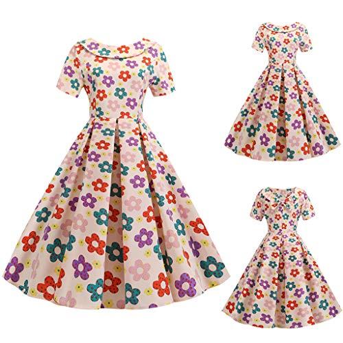 Wawer Damen Kleid  Frauen Mode Puppe Kragen Kleid Herzdruck Zurück Bowknot Hepburn Partykleid, Heißer Freizeitkleidung Einkaufen Übergroße Damenbekleidung