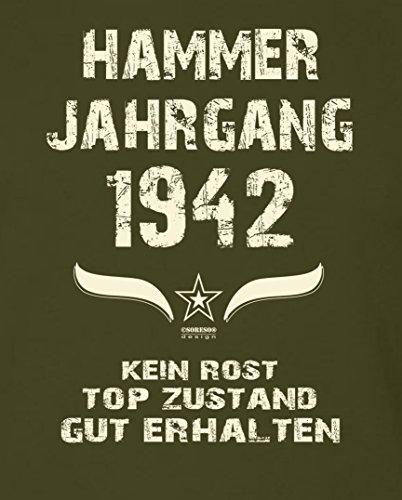 Geschenk-Idee zum 75. Geburtstag :-: Herren Geburtstags T-Shirt mit Jahreszahl :-: Hammer Jahrgang 1942 :-: Geburtstagsgeschenk Männer :-: Farbe: khaki Khaki