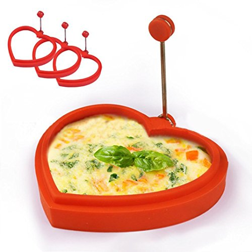 51%2BUttEonSL. SS500  - Hunpta Silicone Round Egg Rings Pancake Mold Ring W Handles Nonstick Fried Frying (A)