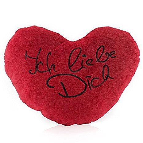 Lumaland I Love You – Kissen Herz Knuddelkissen Plüschkissen kuschelig weich in Rot schwarz oder weiß Bedruckt 30 cm