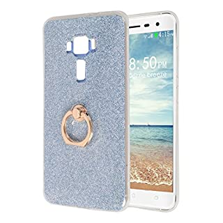 Asnlove Asus Zenfone 3 Bling Shiny Case, Ultra Slim Silicone TPU Mobile Phone Case Back Cover with 360 ° Rotation Finger Buckle Protective Shell Gel Case Cover For Asus Zenfone ZE552KL 5.5 Inch 3