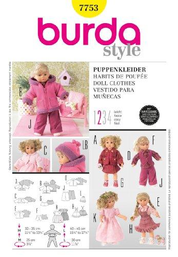 Burda 7753 - Cartamodello per abiti da bambola