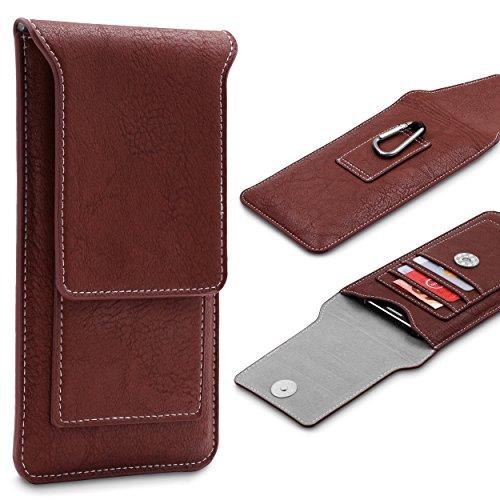 Urcover® UNIVERSAL Handy Schutz-Hülle Tasche mit KARABINER in Braun Handytasche für 4,7 Zoll | Handys wie iPhone 6 / 6s Case iPhone 7 / 8 Cover Samsung Galaxy S5 mini Handyhülle