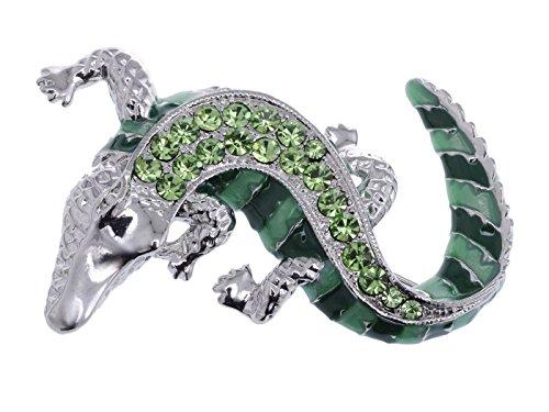 Grün Silberfarben Krabbeldecke Alligator Crocodile Reptile Body ()