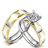 Blisfille Ring Weißgold Verlobungsring Ehering Titan Damen Herren Silber Titanring Konkav Rand Zweifarbig Glatt Hoch Poliert Zirkonia Partnerschaft Kostenlos Gravur 1 Paar Ringe Für Paare