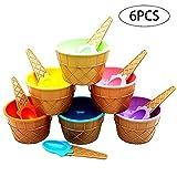 Kunststoff Ice Cream Sorbet Cups mit Löffel Bunte Ice Cream Dessertschalen 6er Pack