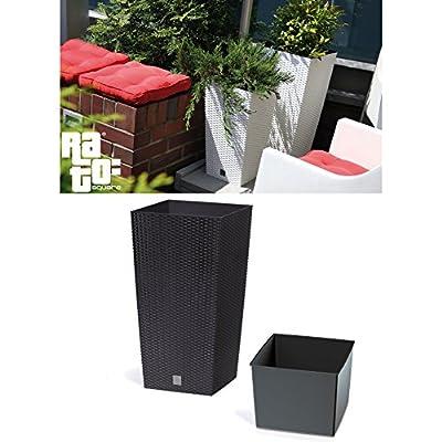 Terra 1405080100 Rato Vase aus Kunststoff mit Einsatz und Rattan-Optik 60 cm, braun von Terra - Du und dein Garten