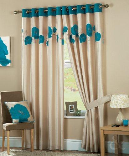 Just Contempo Tende, PVC, Foglia di tè (Blu Panna Beige), 167 x 137 cm