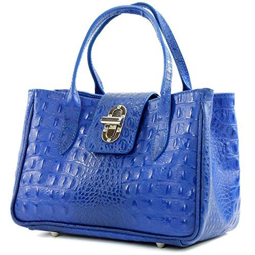 modamoda de - ital. Ledertasche Damentasche Handtasche kleine Tragetasche Leder Klein TL03 Kroko Blau
